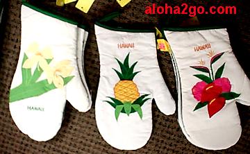 hawaiian mitts, Kitchen Mittens, mitt, hula girl, turtle mitts